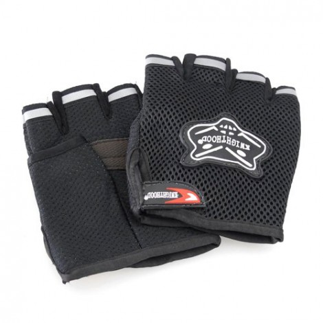 Knighthood 1 Pair of HALF Hand Grip Gloves for Bike Motorcycle Scooter Riding - Black Colour