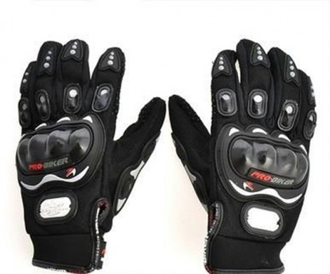 Pro-Biker Riding Gloves - 1 Pair for Bike Motorcycle Scooter Riding - Black Colour