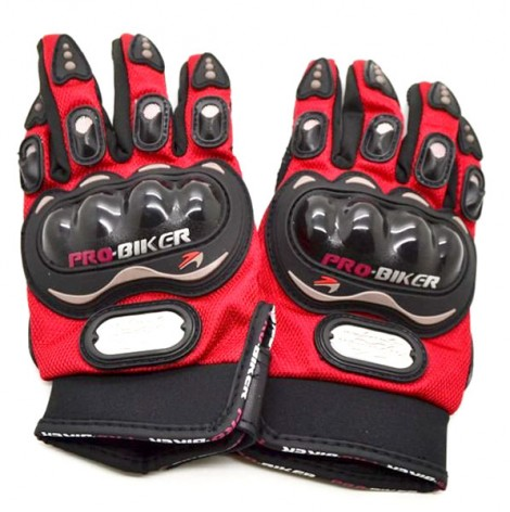 Pro-Biker Riding Gloves - 1 Pair for Bike Motorcycle Scooter Riding - Red Colour