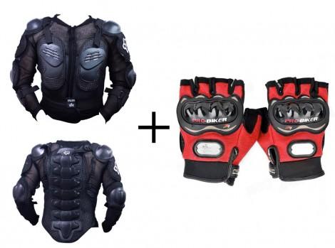 Fox Bike Riding Armor Jacket L(40) + Pro-Biker Half Cut Bike Riding Gloves-RED